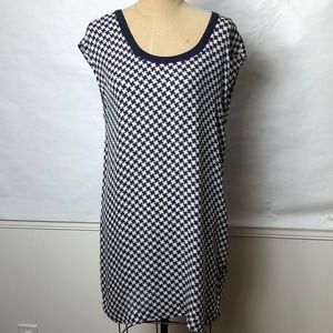 Joie navy/cream checked silk shift dress